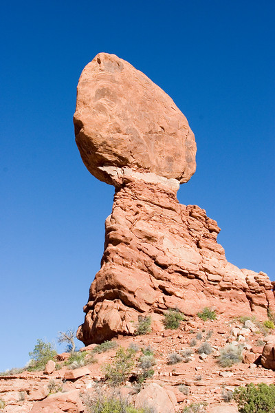 Balanced Rock in Arches National Park.  You can really see the three different layers of rock involved in this thing.