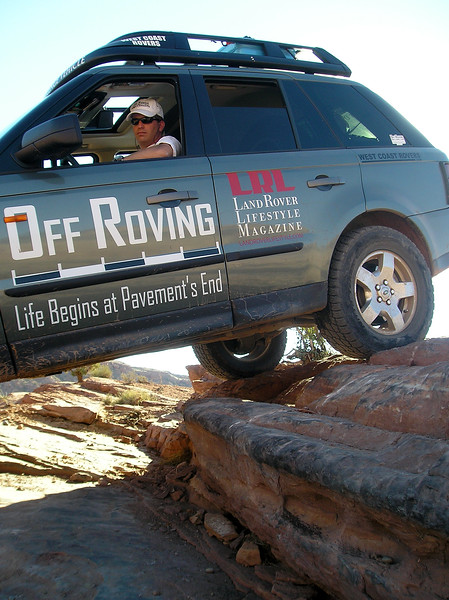 "Adam Spiker of  <a href=""http://www.OffRoving.com"">http://www.OffRoving.com</a> showing how it's done on Hells Revenge with his Range Rover Sport - Photo credit: John ""RoverDude"" Gadd"