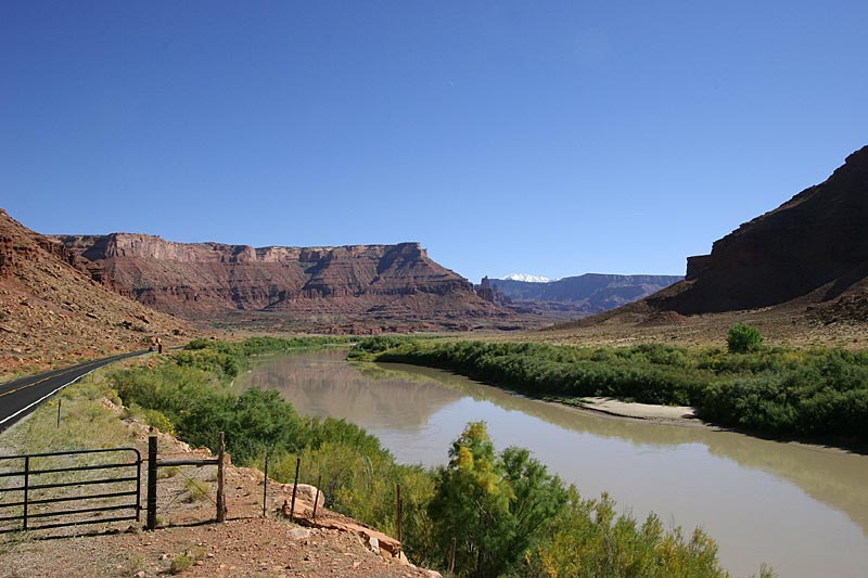 View of the Colorado river, with the snow capped La Sal Mountainsin the background.