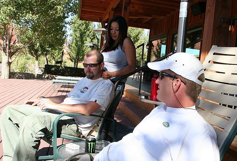 Adam trying to talk Joe's girlfriend Melissa into giving him a massage next.