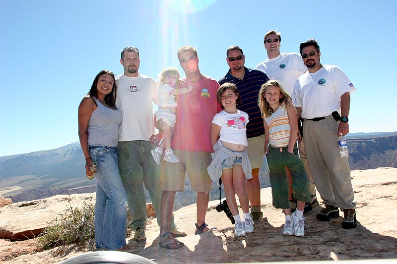 Travelling buddies.  From left to right (adults only):<br /> Melissa & Joe, John, George, myself, Luis. - Top of the World, rim