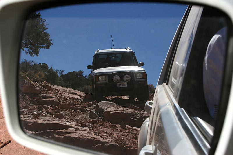 The trail was not particularly smooth.  Luis's DII in the rearview mirror