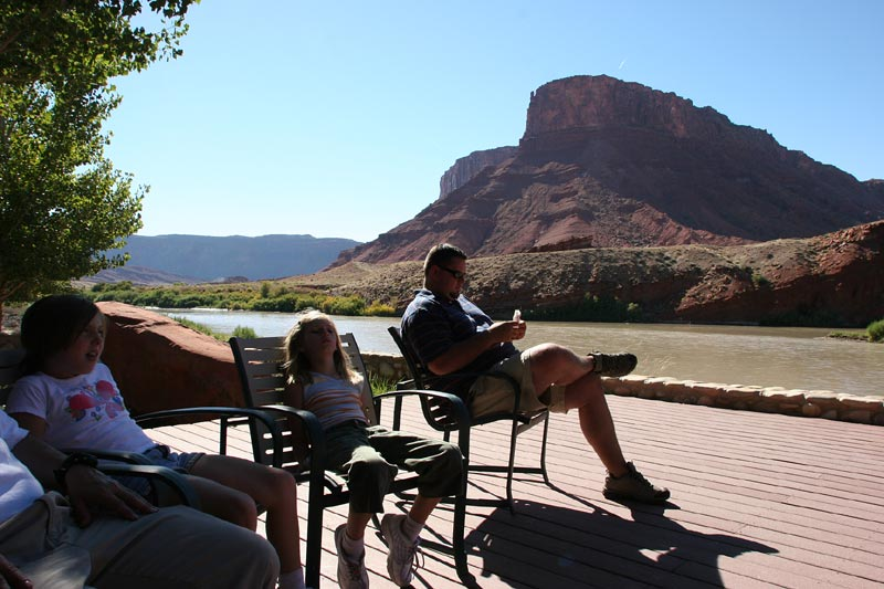 Chill'n on the back deck along the Colorado at Sorrel Canyon Ranch