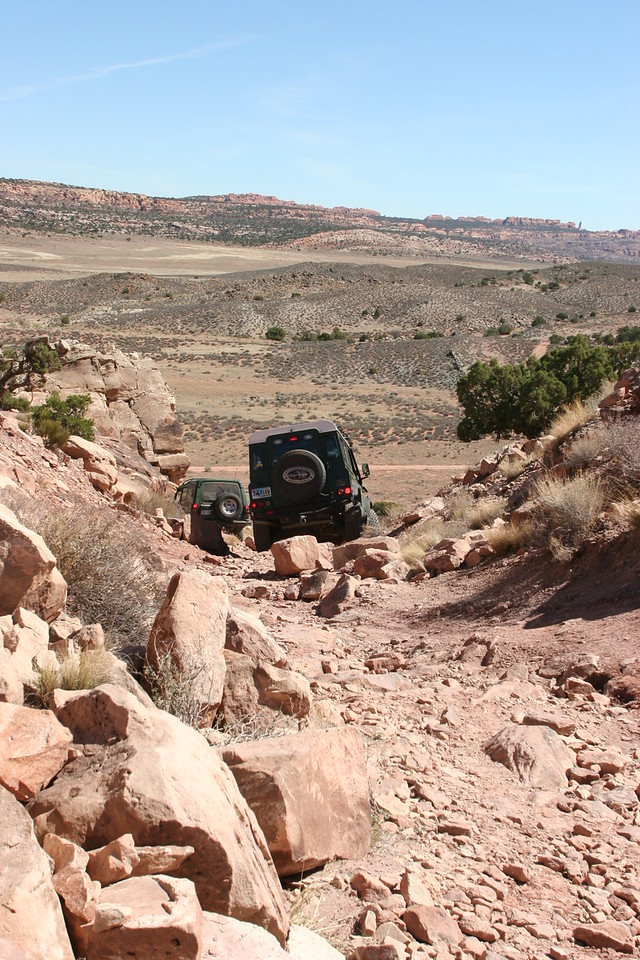The fun part of Klondike Bluffs trail, where it drops down into Arches National park.  This was a fun hill.