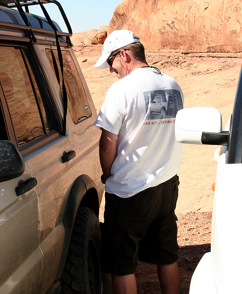 Adam, marking his territory on Joe's truck...