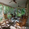 One of the many sunrooms around the resort. <br /> <br /> Apparently, Virginians like to sit and rock. <br /> <br /> The Inn at Vaucluse Spring. Stephens City, Viriginia. May 2015, digital.
