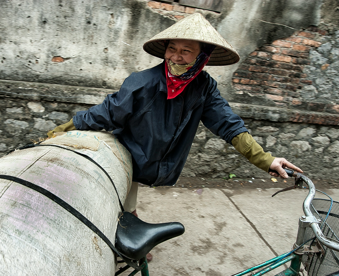 female worker using a bicycle to transport goods.<br /> <br /> Ninh Binh, Northern Vietnam, 2008