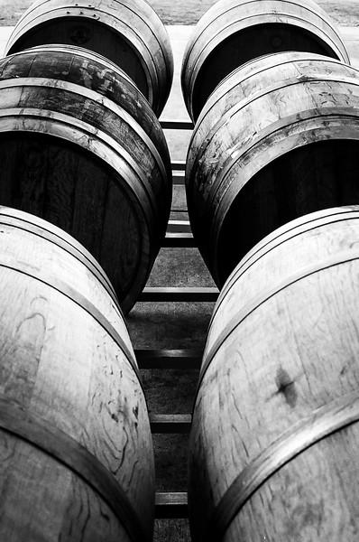 Wine barrels at Sunset Hills Vineyard, Virginia. Kodak Tri-X,  2014.