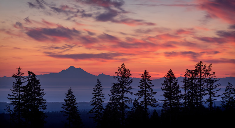 Sunrise behind Mount Baker