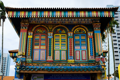 Colourful wooden house in Little India of Singapore