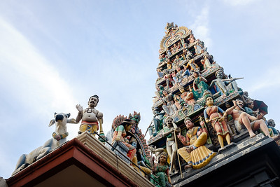 Hindu temple sculptures at Sri Mariamman Temple SIngapore