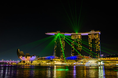 Night-time laser show at Marina Bay Sands and Sands Theatre