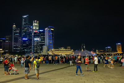 Crowd of people in front of the Shoppes at Marina Bay Sands