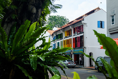 Rainbow coloured windows on a house in Singapore