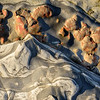 Colorful eroded beach rocks