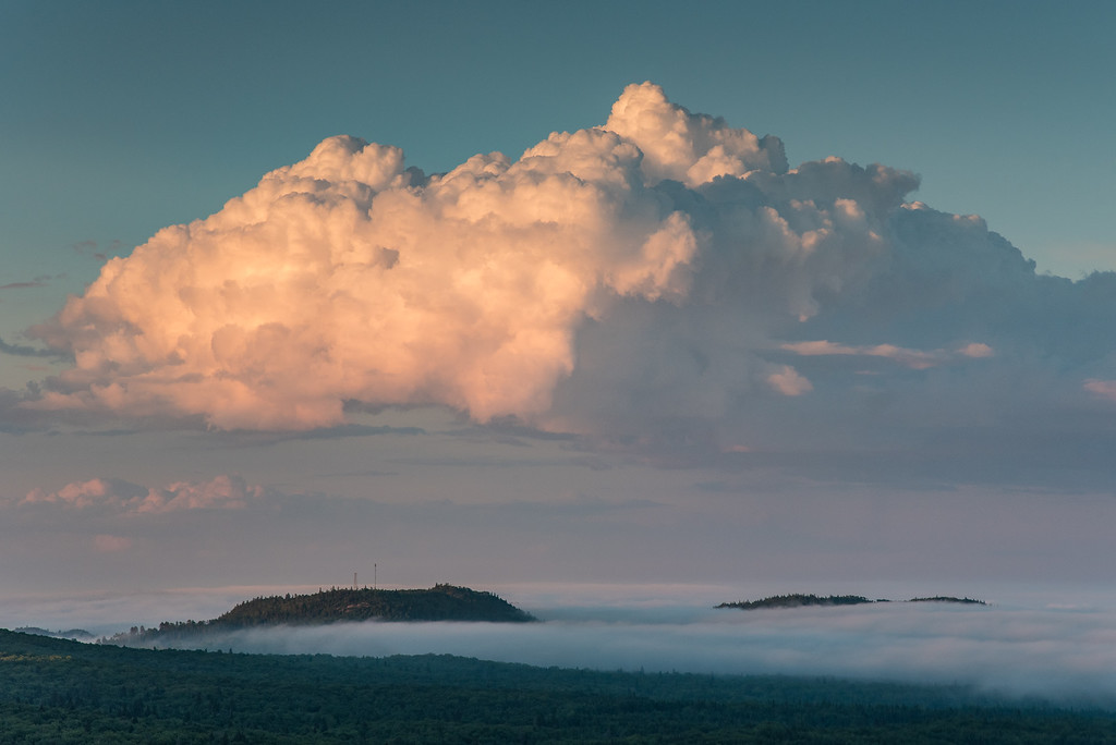 """CLOUDS 8881<br /> <br /> """"Sunset Cloud over Mt. Maude""""<br /> <br /> Grand Portage, MN"""