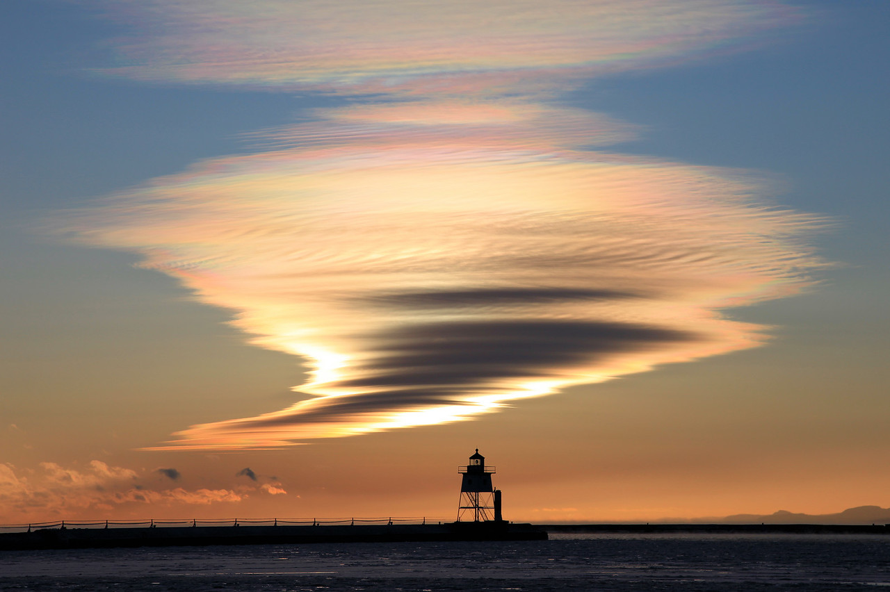 "CLOUDS 5392<br /> <br /> ""Tornado Cloud, Grand Marais Harbor""<br /> <br /> Grand Marais, MN"