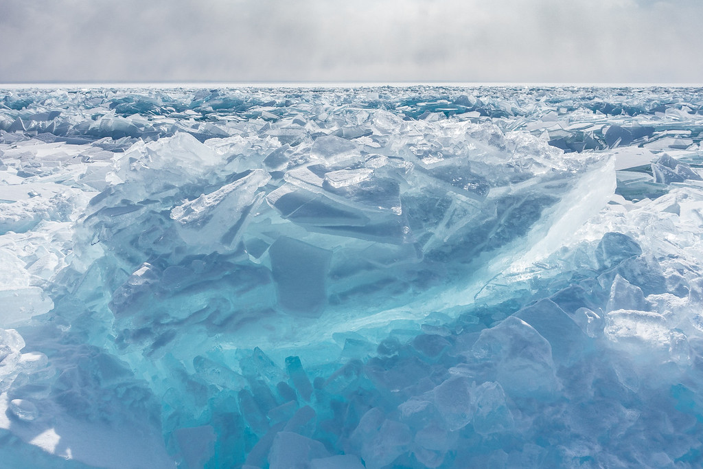 """ICE 04516<br /> <br /> """"Superior Blue""""<br /> <br /> Ice piles along the Lake Superior shoreline near Two Harbors, MN."""