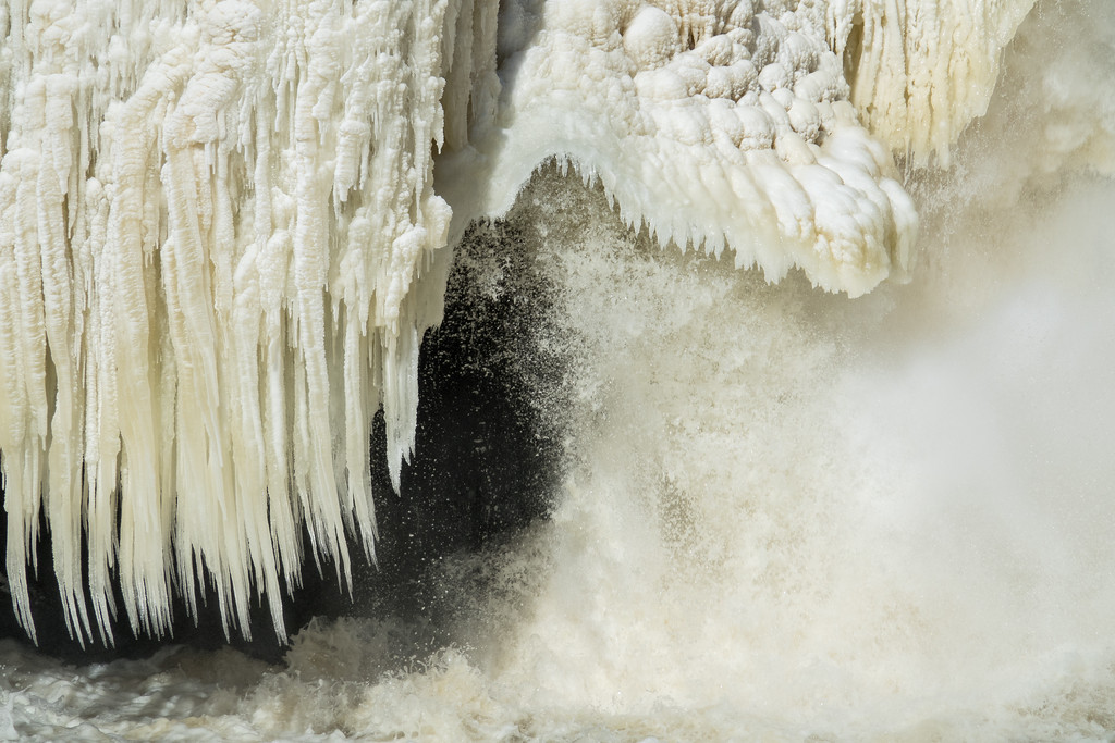 """ICE 01656<br /> <br /> """"March Ice on High Falls""""<br /> <br /> Pigeon River - Grand Portage State Park, MN"""