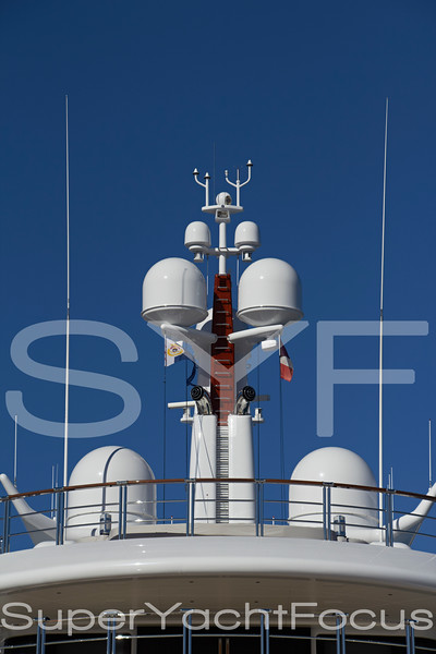 Satellite domes, superyacht