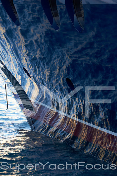 Yacht bow,paint reflection