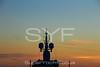 Satellite domes at sunset