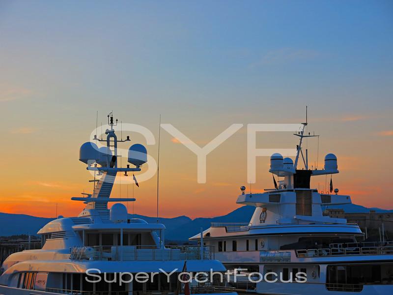 Yacht detail,sunset