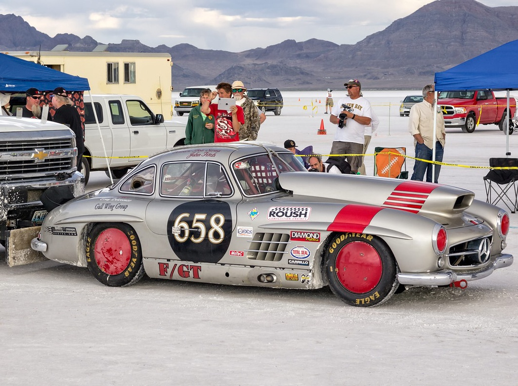 . Bob Sirnas of Rochester driving his 1955 Mercedes Benz 300SL at the Bonnevile Salt Flats starting line. Sirnas car will be part of an exhibit of speedsters on display at Autorama.