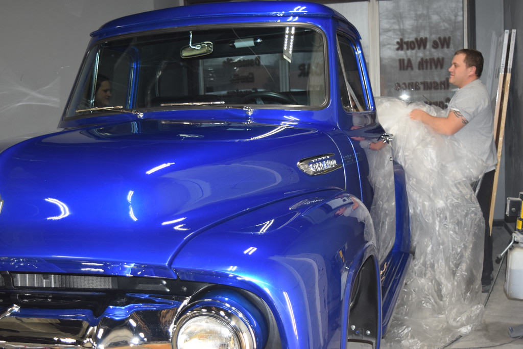 . Candy Blue is the name that Eric Lafata is giving to the custom colored paint he created to cover this 1954 Ford F100 and one several vehicles he\'\'s entered in the Detroit Autorama at Cobo Center, March 2-4.