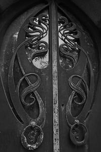 Door of CJ Whitney mausoleum.