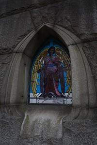 Stained glass on CJ Whitney's mausoleum.