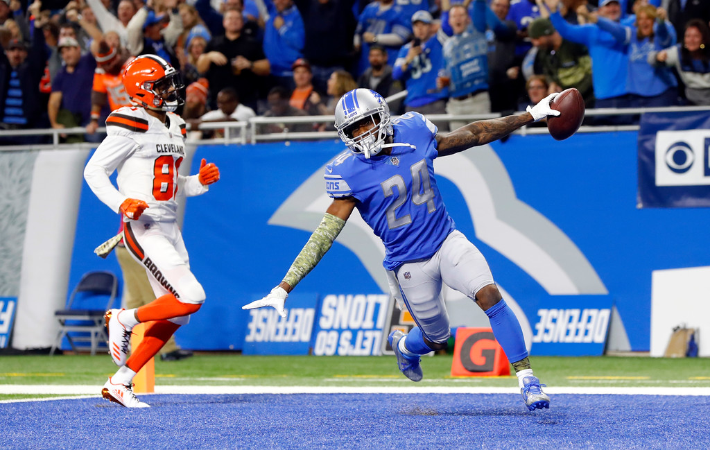 . Detroit Lions cornerback Nevin Lawson (24) runs into the end zone for a 44-yard touchdown after recovering a Cleveland Browns fumble during the first half of an NFL football game, Sunday, Nov. 12, 2017, in Detroit. (AP Photo/Paul Sancya)