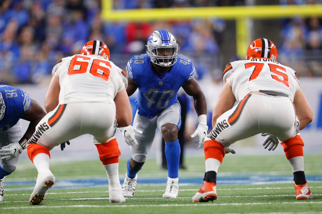 . Detroit Lions linebacker Jarrad Davis (40); waits on the snap during the first half of an NFL football game against the Cleveland Browns, Sunday, Nov. 12, 2017, in Detroit. (AP Photo/Paul Sancya)