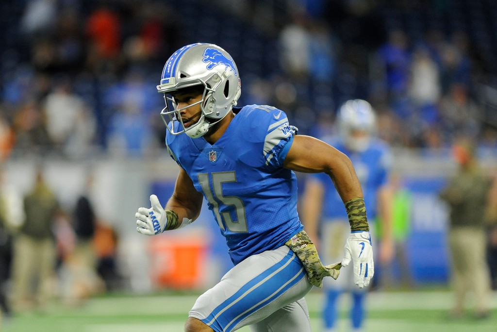 . Detroit Lions wide receiver Golden Tate runs during pregame of an NFL football game against the Cleveland Browns, Sunday, Nov. 12, 2017, in Detroit. (AP Photo/Jose Juarez)