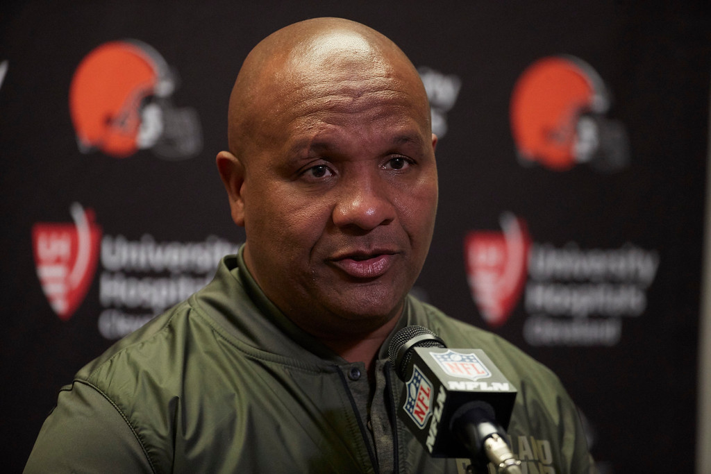 . Cleveland Browns head coach Hue Jackson talks to the media after an NFL football game against the Detroit Lions, Sunday, Nov. 12, 2017, in Detroit. (AP Photo/Rick Osentoski)