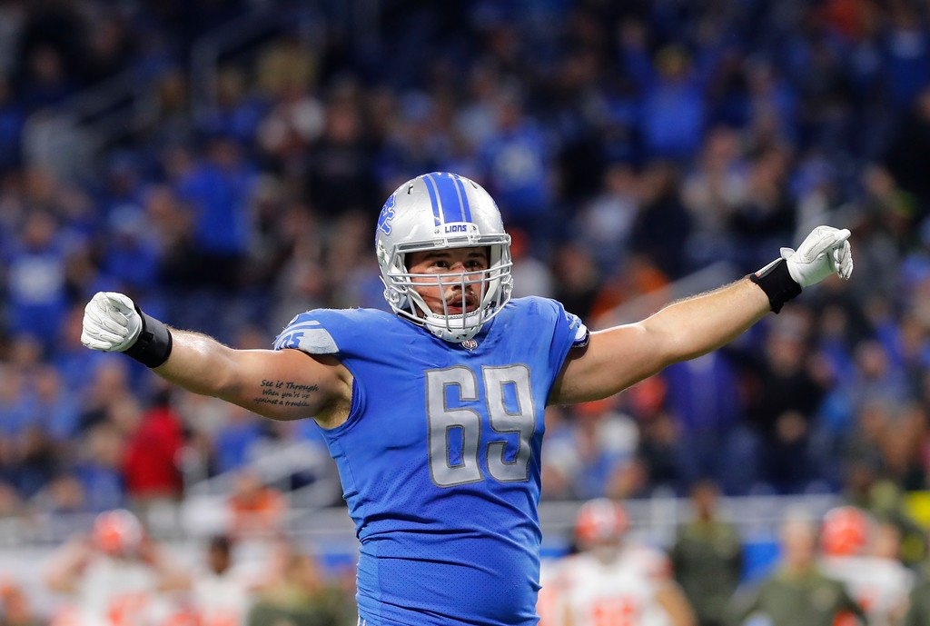 . Detroit Lions defensive end Anthony Zettel gestures during the second half of an NFL football game against the Cleveland Browns, Sunday, Nov. 12, 2017, in Detroit. (AP Photo/Paul Sancya)