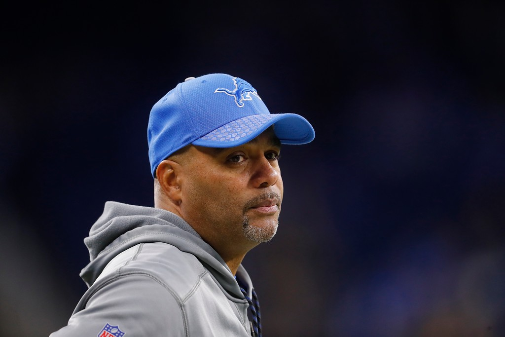 . Detroit Lions defensive coordinator Teryl Austin seen during pregame of an NFL football game against the Cleveland Browns, Sunday, Nov. 12, 2017, in Detroit. (AP Photo/Paul Sancya)