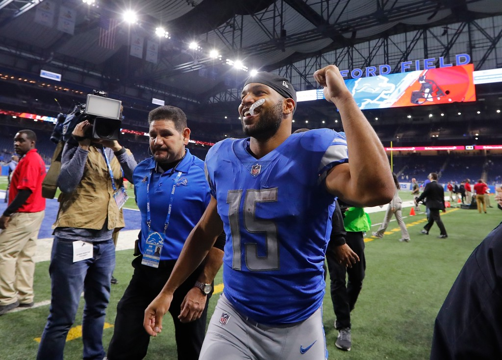. Detroit Lions wide receiver Golden Tate raises his fist after the NFL football game against the Cleveland Browns, Sunday, Nov. 12, 2017, in Detroit. (AP Photo/Paul Sancya)