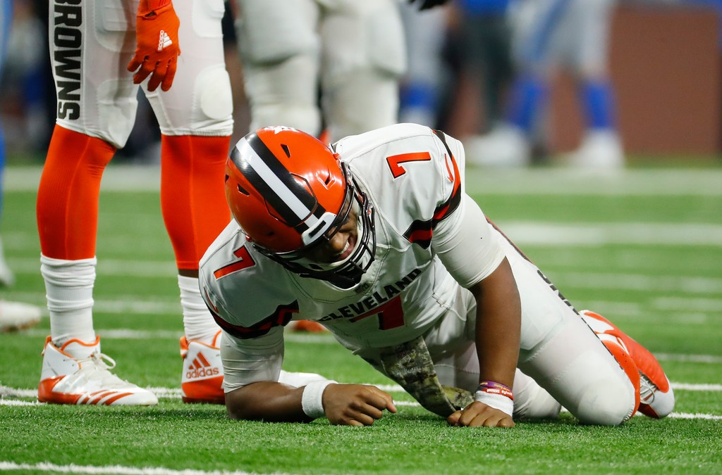 . Cleveland Browns quarterback DeShone Kizer reacts after a hit during the second half of an NFL football game against the Detroit Lions, Sunday, Nov. 12, 2017, in Detroit. (AP Photo/Rick Osentoski)