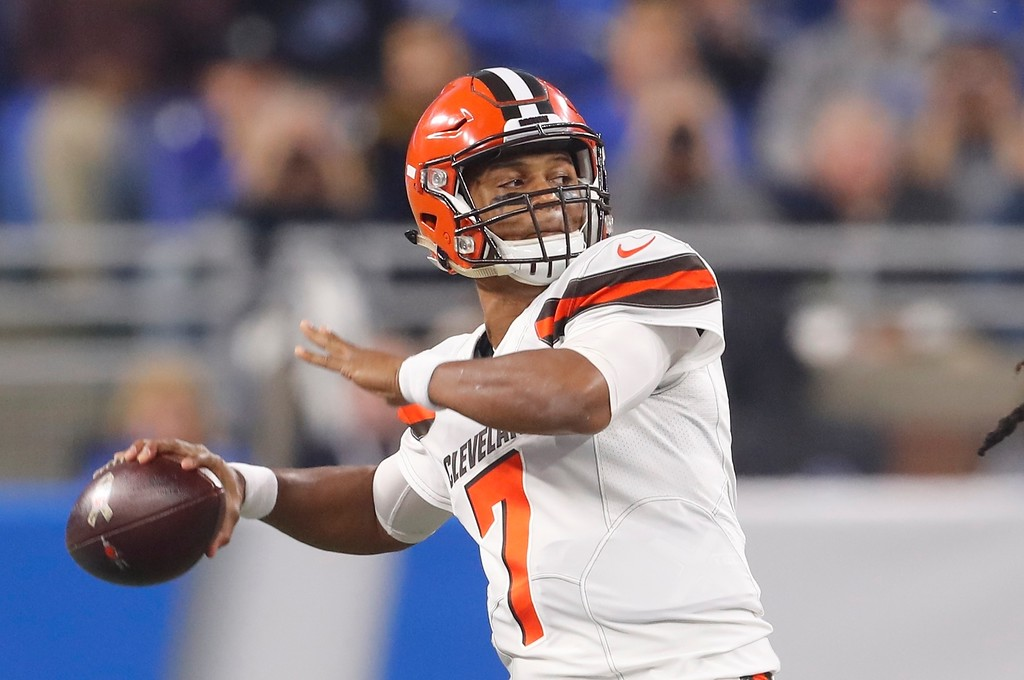. Cleveland Browns quarterback DeShone Kizer throws during the first half of an NFL football game against the Detroit Lions, Sunday, Nov. 12, 2017, in Detroit. (AP Photo/Paul Sancya)