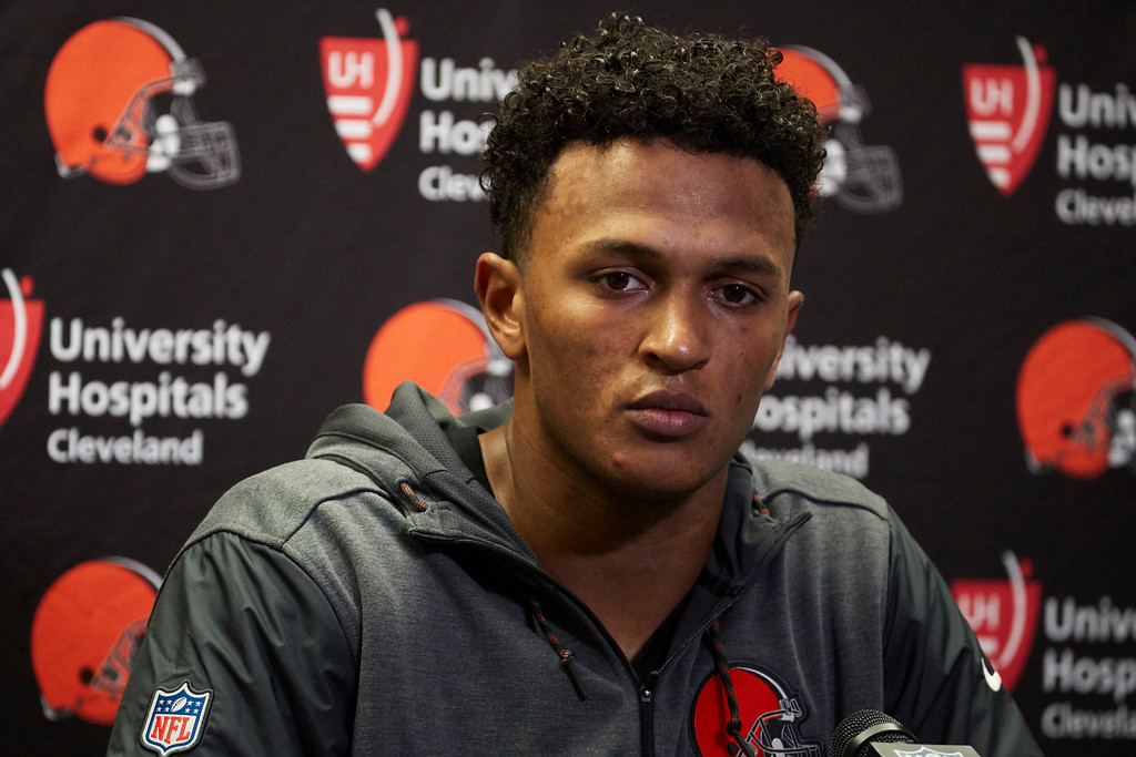 . Cleveland Browns quarterback DeShone Kizer talks to the media after an NFL football game against the Detroit Lions, Sunday, Nov. 12, 2017, in Detroit. (AP Photo/Rick Osentoski)