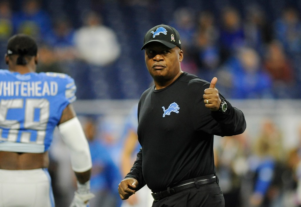 . Detroit Lions head coach Jim Caldwell walks on the field during pregame of an NFL football game against the Cleveland Browns, Sunday, Nov. 12, 2017, in Detroit. (AP Photo/Jose Juarez)