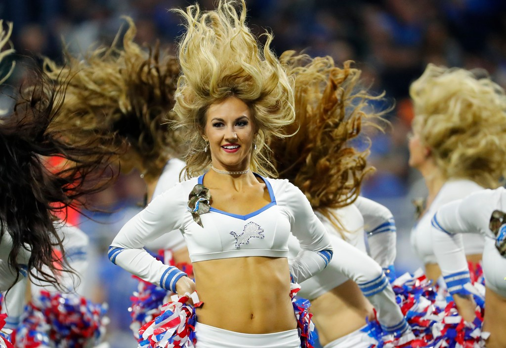 . The Detroit Lions cheerleaders perform during the first half of an NFL football game against the Cleveland Browns, Sunday, Nov. 12, 2017, in Detroit. (AP Photo/Rick Osentoski)