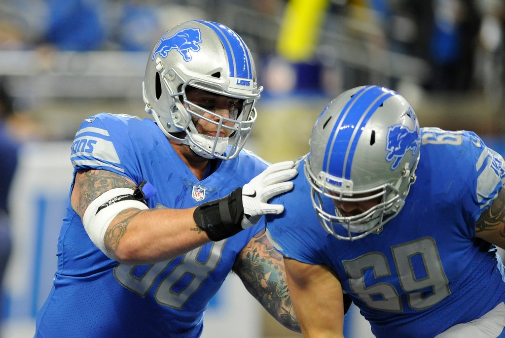 . Detroit Lions offensive tackle Taylor Decker (68) defends against defensive end Anthony Zettel during pregame of an NFL football game against the Cleveland Browns, Sunday, Nov. 12, 2017, in Detroit. (AP Photo/Jose Juarez)