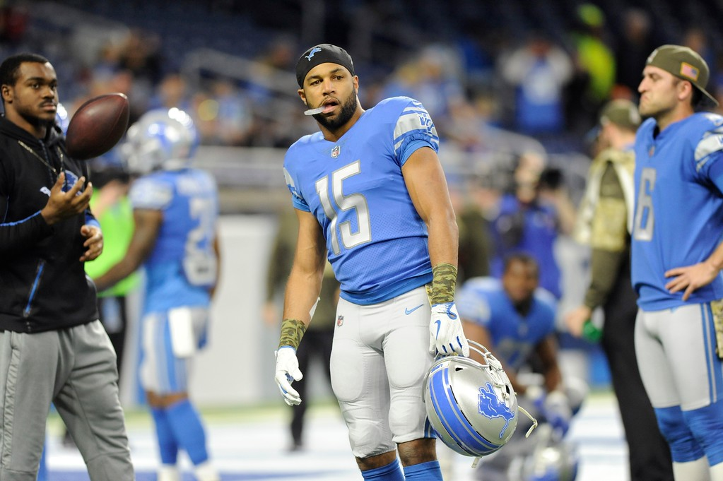 . Detroit Lions wide receiver Golden Tate (15) is seen during pregame of an NFL football game against the Cleveland Browns, Sunday, Nov. 12, 2017, in Detroit. (AP Photo/Jose Juarez)