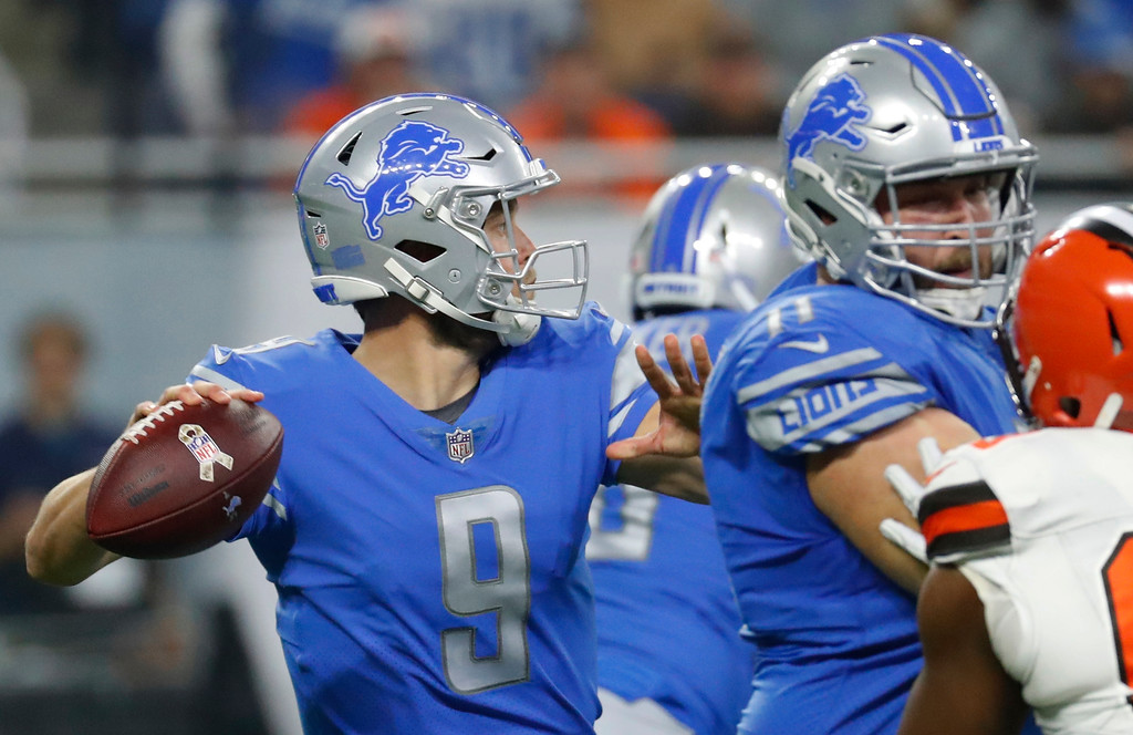 . Detroit Lions quarterback Matthew Stafford (9) throws during the first half of an NFL football game against the Cleveland Browns, Sunday, Nov. 12, 2017, in Detroit. (AP Photo/Rick Osentoski)