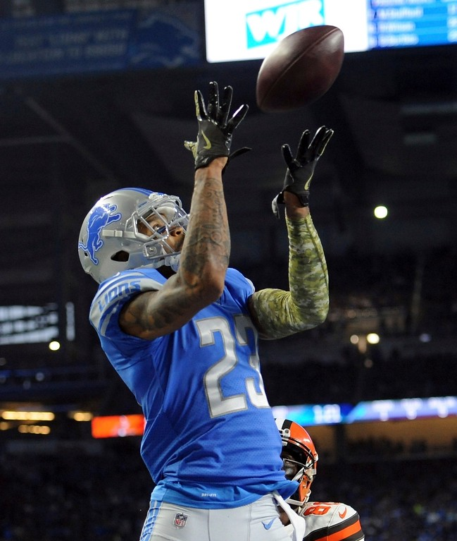 . Detroit Lions cornerback Darius Slay (23) intercepts a pass intended for Cleveland Browns wide receiver Ricardo Louis in the end zone for a touchback during the second half of an NFL football game, Sunday, Nov. 12, 2017, in Detroit. (AP Photo/Jose Juarez)