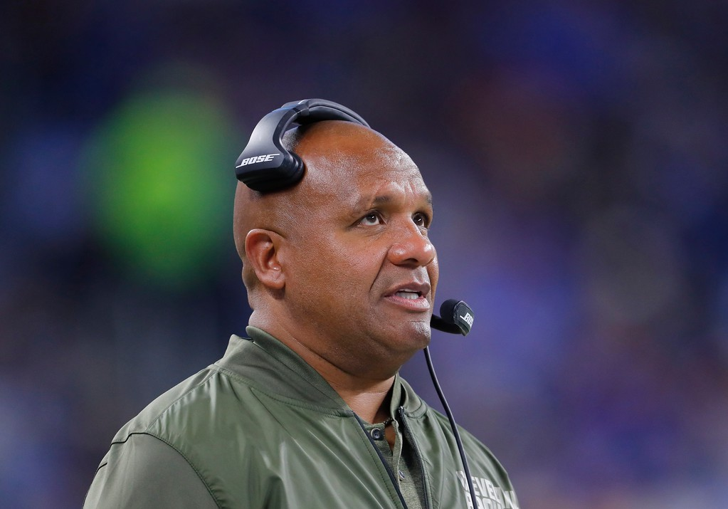 . Cleveland Browns head coach Hue Jackson watches from the sidelines during the second half of an NFL football game against the Detroit Lions, Sunday, Nov. 12, 2017, in Detroit. (AP Photo/Paul Sancya)