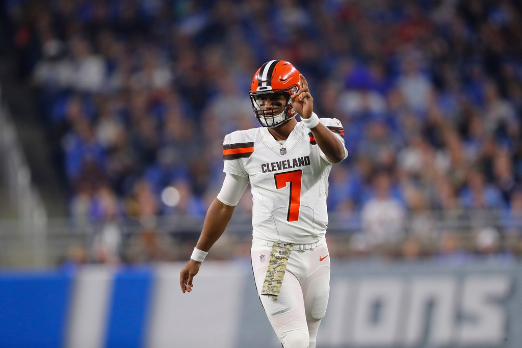 . Cleveland Browns quarterback DeShone Kizer (7) walks up to the line during the first half of an NFL football game against the Detroit Lions, Sunday, Nov. 12, 2017, in Detroit. (AP Photo/Paul Sancya)