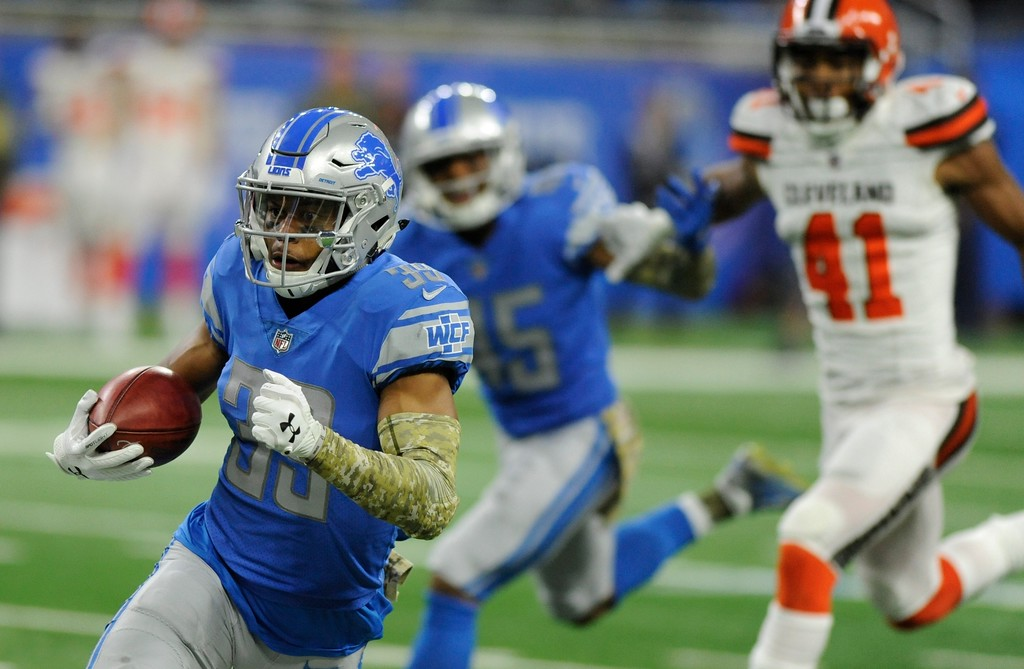 . Detroit Lions cornerback Jamal Agnew runs during the second half of an NFL football game against the Cleveland Browns, Sunday, Nov. 12, 2017, in Detroit. (AP Photo/Jose Juarez)